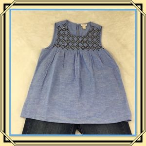 J. CREW SLEEVELESS CHAMBRAY WITH EMBROIDERY  0